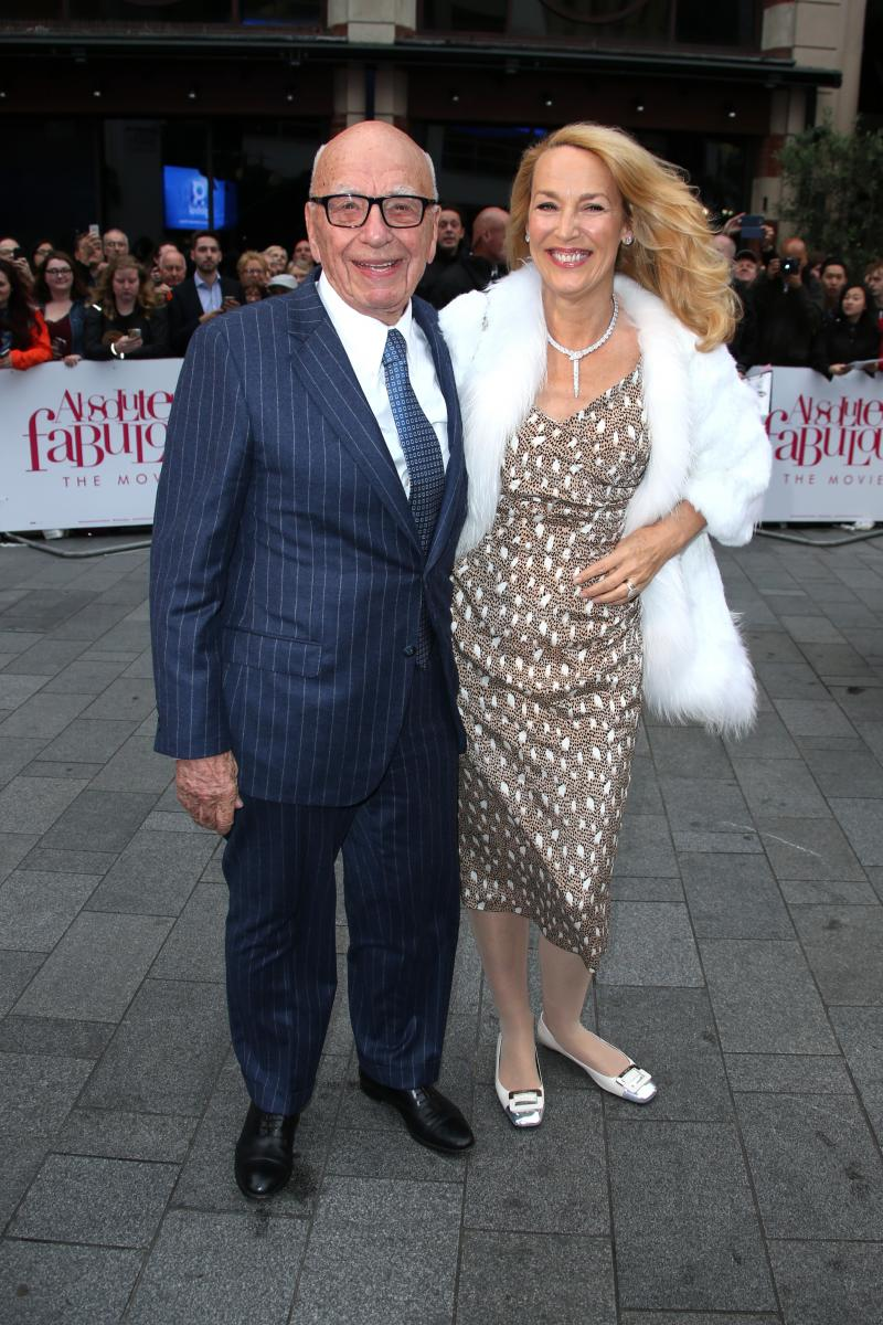 Rupert Murdoch and Jerry Hall pose for photographers