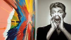 Damien Hirst's spin painting beside the Bowie portrait by Gavin Evans - Ph: Press Association