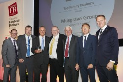 Tim Jenkins, global business commentator and master of ceremonies; Nicky Hartery, chairman of Musgrave Group; Chris Musgrave, vice chairman of Musgrave Group; Brian Thompson, chairman of the Next Generation Committee, of Musgrave Group; Stuart Musgrave, retired non-executive family director, of Musgrave Group; Jean-François Mazaud, head of Societe Generale Private Banking and award presenter; and Nicholas Moody
