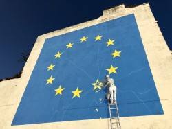 The Brexit mural by artist Banksy near the Port of Dover