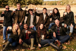 Wearing Barbour's Re-Engineered for Autumn Winter 19 jackets are (from top left to right) Chad McQueen, Ben Fogle, Helen Barbour, Johannes Huebl, Suzi Perry and Hannah Cooper with (from bottom left to right) Edith Bowman, JB Gill, Laura Wright and Lawrence Dallaglio